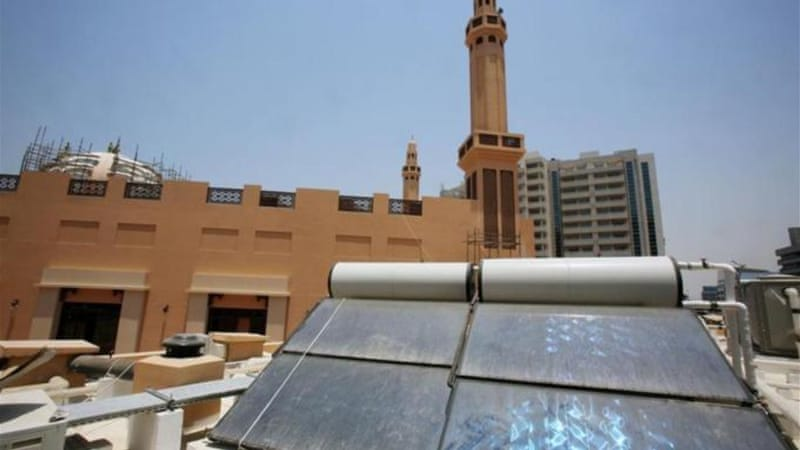 Solar panels on the roof top of the green mosque in Dubai [AP]