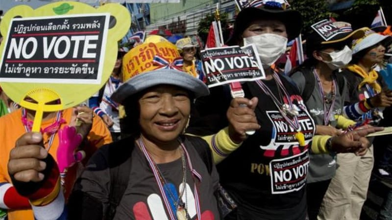 The Thai opposition has launched a campaign to block voting in a number of constituencies [AFP/Getty Images]