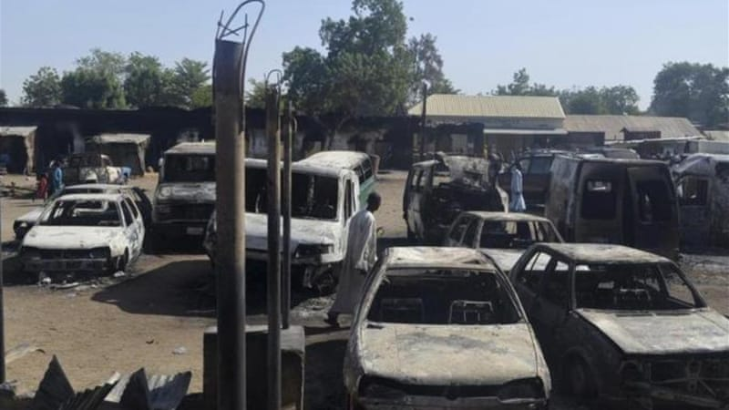 Boko Haram, which destroyed these vehicles in Bama last week, is being blamed for the latest attack [Reuters]