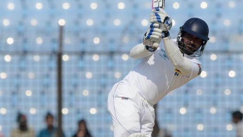 Sangakkara's innings was over one ball after he hit a six to reach his second-innings century [AFP]