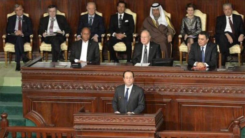 French President Francois Hollande and other world leaders attended the ceremony in Tunis [AFP]