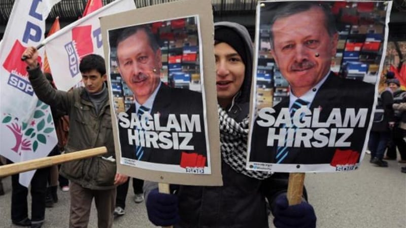 Recep Erdogan's government has been mired in a corruption scandal [AP]