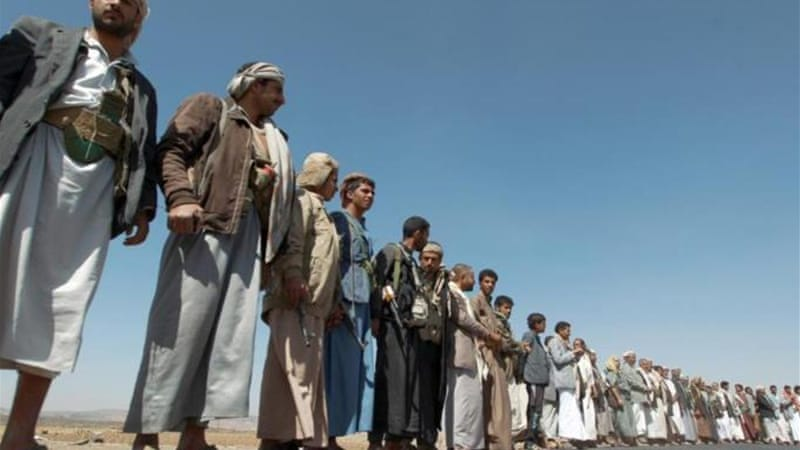 Houthi tribesmen gather during a ceasefire last week [AFP]
