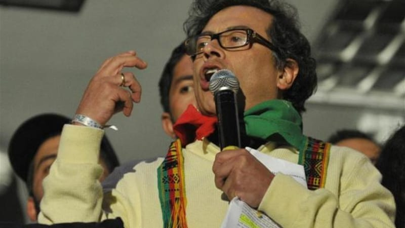 Bogota's Mayor Gustavo Petro speaks to supporters during a protest in December [AP]