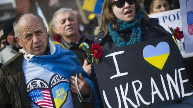 The US should offer an additional $5-10bn in loan guarantees to Ukraine, writes Franklin [AFP/Getty Images]