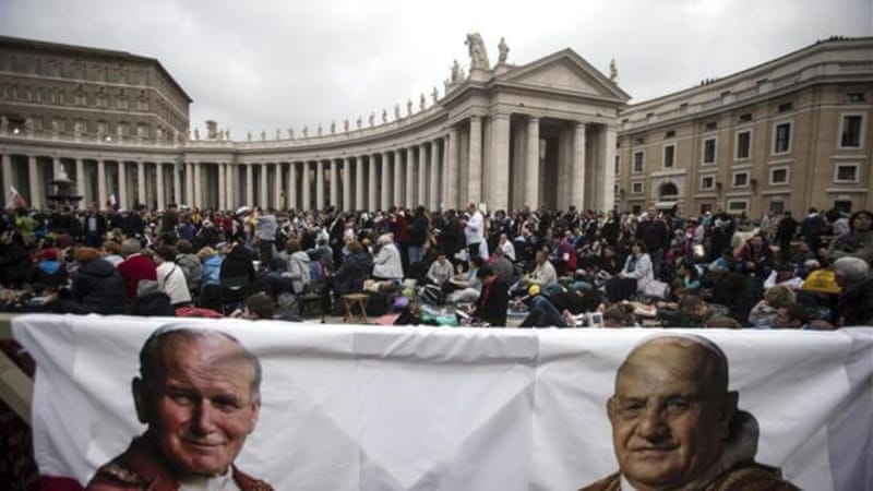One million pilgrims are expected to gather in Rome for the canonisation of two previous popes [EPA]