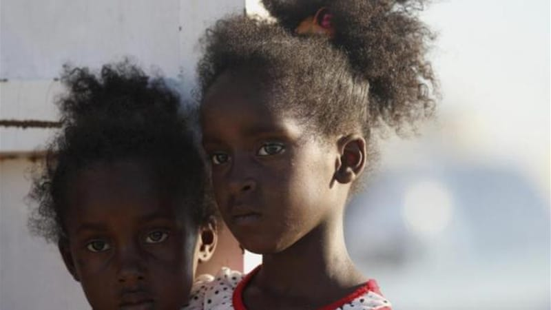 The nine immigrants who died were Sudanese, like these children already at a refugee camp in Benghazi [Reuters]