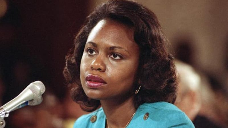 Twenty-three years after Anita Hill's testimony at the US Senate hearings, little has changed in societal attitudes towards victims of sexual crimes, writes Moschella [AP]