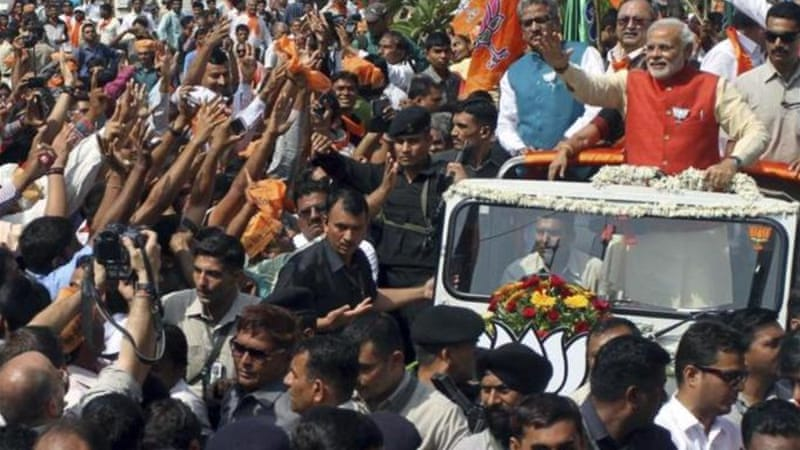 This is for the first time that Modi visited Vadodara constituency after selecting it as his second seat [AP]