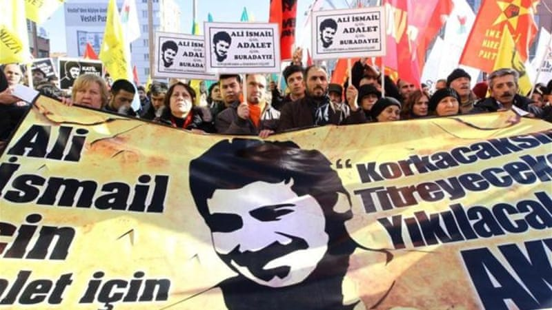 Ali Ismail Korkmaz died after being pummelled with baseball bats and truncheons in the city of Eskisehir [AFP]