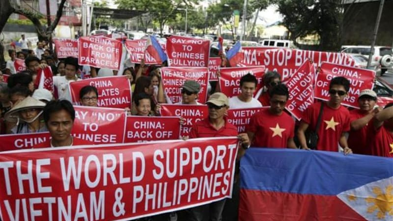 The Manila protest was against Beijing's incursions into South China Sea territories [AP]