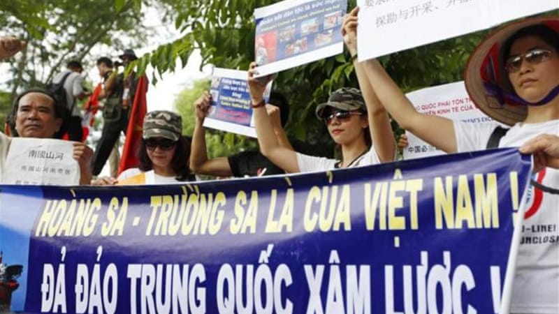 Thousands of protesters have rallied against China in front of the Chinese embassy in Hanoi [EPA]