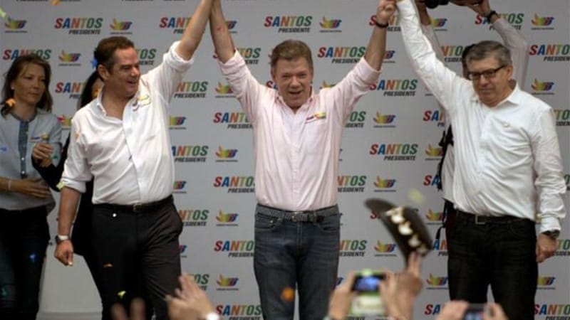 In his electoral campaign, Colombian President Juan Manuel Santos has focused on the ongoing peace talks with FARC [AFP/Getty Images]