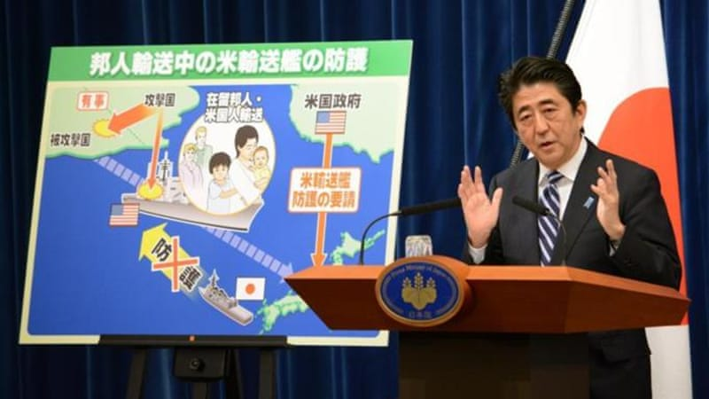 PM Shinzo Abe aims to beef up rules of military engagement to allow the Self-Defence Force to use force overseas [AFP]