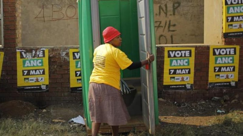 Statistics South Africa's said that around 5.3 percent of houses had no toilets or bucket toilets in 2012 [EPA]