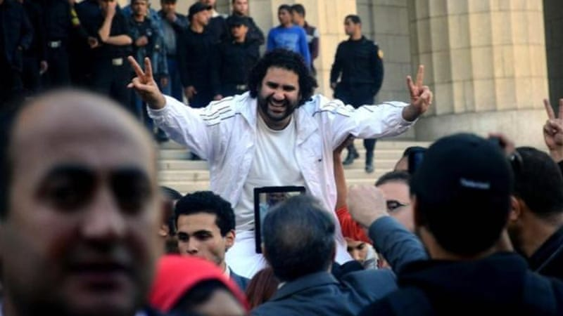 Prominent Egyptian blogger Alaa Abdel Fattah has once again been arrested [AP]