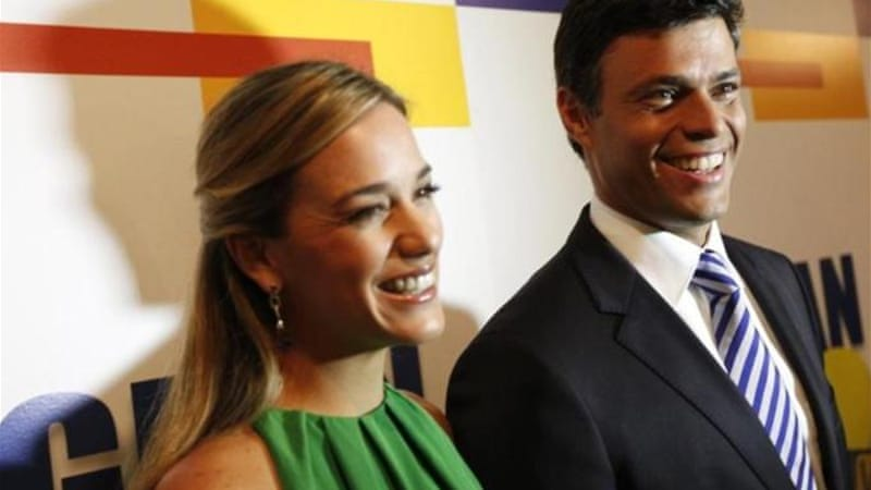 Protest leader Leopoldo Lopez, who has been jailed since February, with his wife Lilian Tintori in 2011 [Reuters]