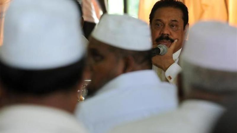 Although President Rajapaksa pledged action, the affected people are not convinced and want BBS banned [AFP]