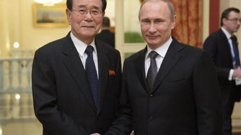 Putin greets Kim Yong-nam, chairman of the Presidium of the Supreme People's Assembly of North Korea [EPA]