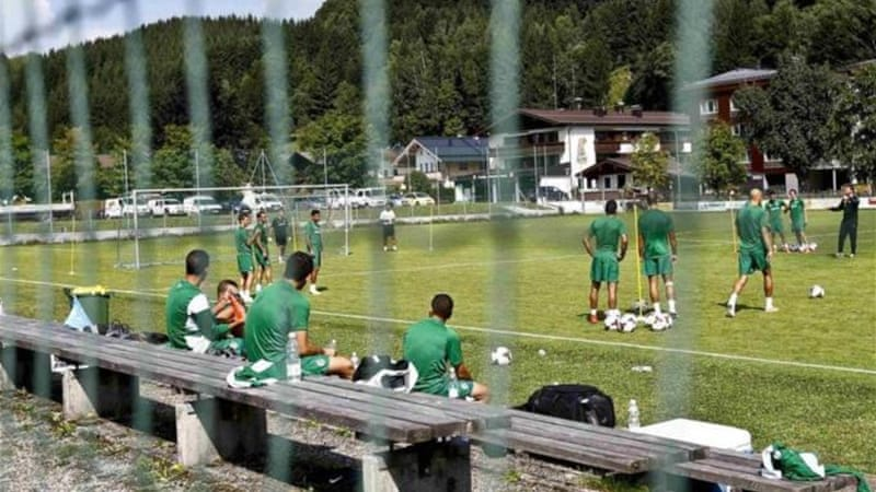 A fence protects Maccabi Haifa players in the Austrian village of Leogang [REUTERS]