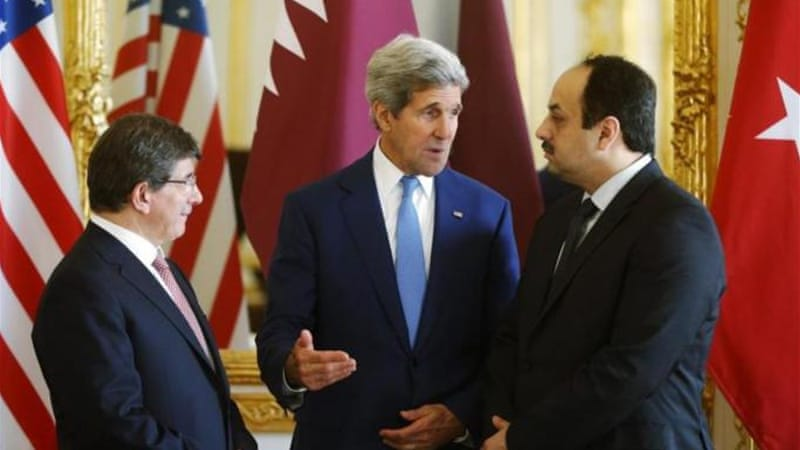 US Secretary of State Kerry met the foreign ministers of Qatar and Turkey in his ceasefire efforts [Reuters]
