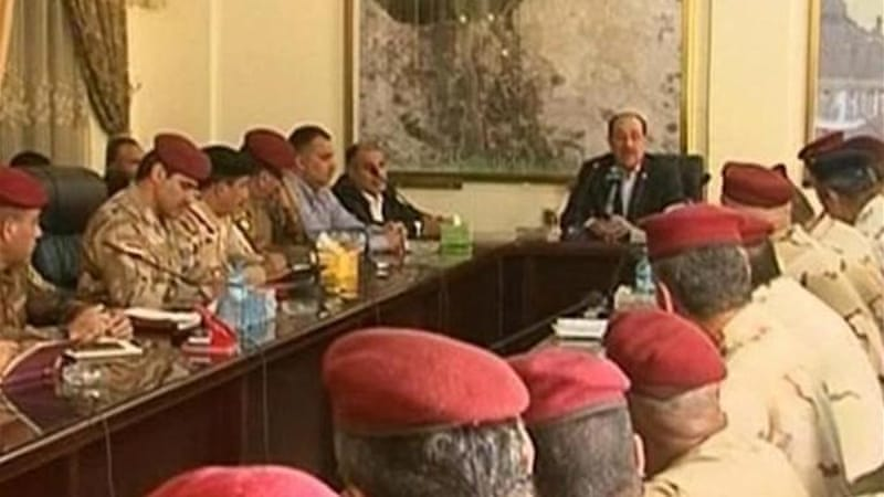 Iraqi Prime Minister Nouri al-Maliki meeting with military commanders in Samarra, Iraq [AP]
