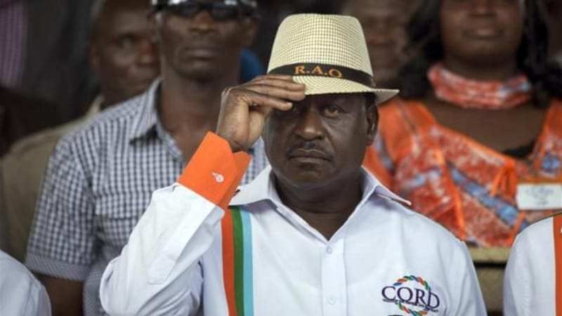 Kenyan opposition leader Raila Odinga attends a rally to welcome him back to the country [AP]
