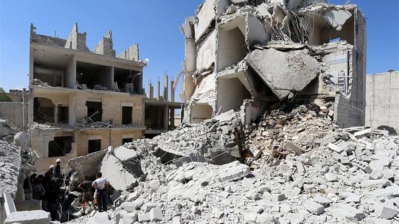 A rights group said the number of rebel sectors hit by barrel bombs had almost doubled in five months [AFP]