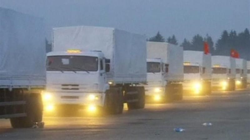 The convoy, between 262 and 287 vehicles, left Moscow region on Tuesday carrying over 1,800 tonnes of 'aid' [Reuters]