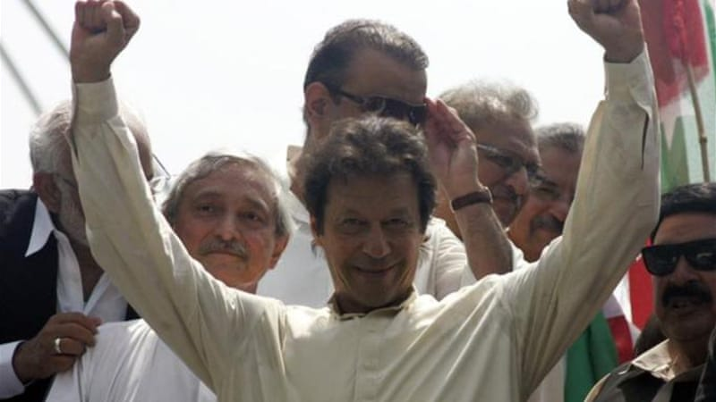 Opposition leader Imran Khan accuses Prime Minister Nawaz Sharif of vote rigging [Reuters]