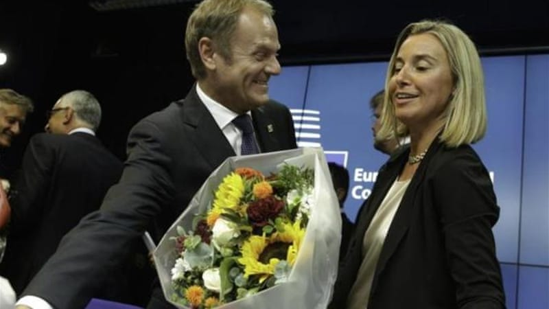 Tusk and Mogherini are the EU's top officials [AP]