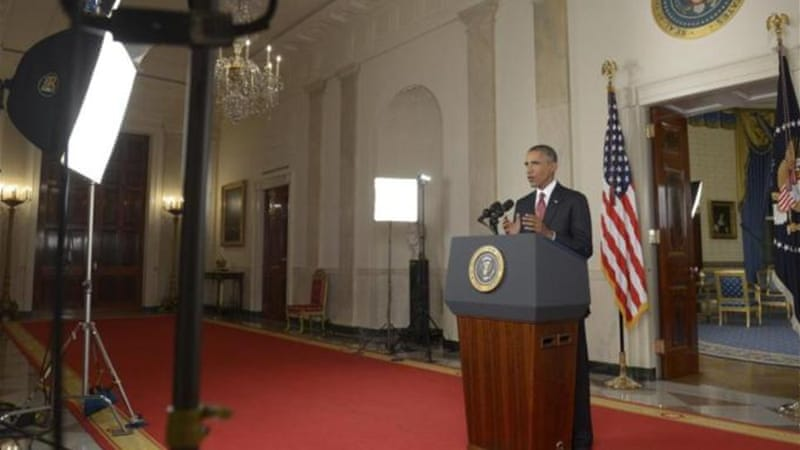 Obama delivers a primetime address from the White House, vowing to target the Islamic State with air strikes [EPA]
