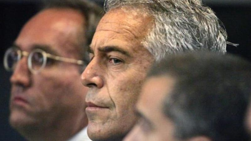In 2008 Epstein, middle, was convicted of soliciting an under-age girl for prostitution [AP]