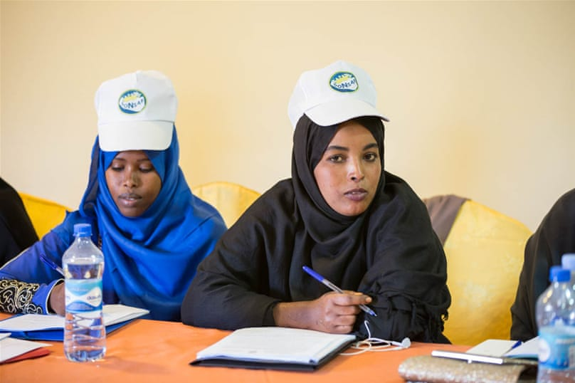 Domestic election observers during a training session in Hargeisa. They will be part of a team of over 600 observers who will be reporting on polling day using SMS. 'Because we are an emerging country, the world can see our democracy, so it's important to show our process is fair and transparent,' says 21-year-old observer and student, Isir Guleid Hussein. [Kate Stanworth/Saferworld/Al Jazeera]