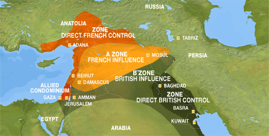 the sykes picot agreement of 1916 Sykes picot agreement map it was an enclosure in paul cambon's letter to sir edward grey, 9 may 1916 in may 1917 w ormsby-gore wrote french intentions in syria.