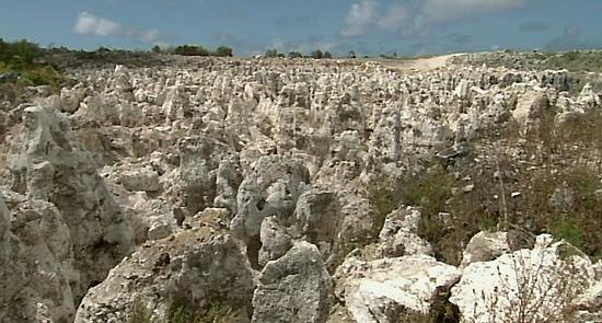 Bekas tambang Fosfat yang menganga lebar, membuat Nauru seperti permukaan bulan yang tandus | Al Jazeera