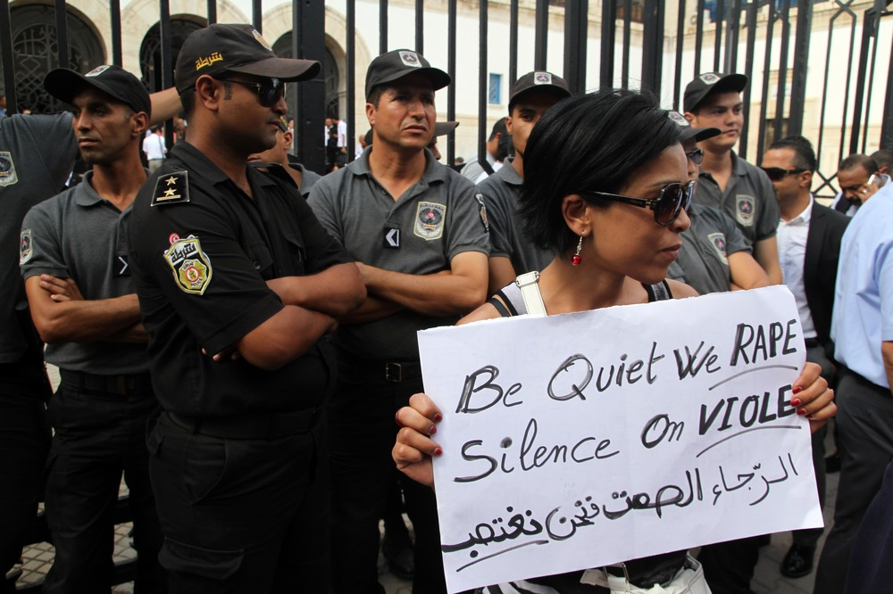 Tunisian civil society groups expressed outrage at the trial of the woman.