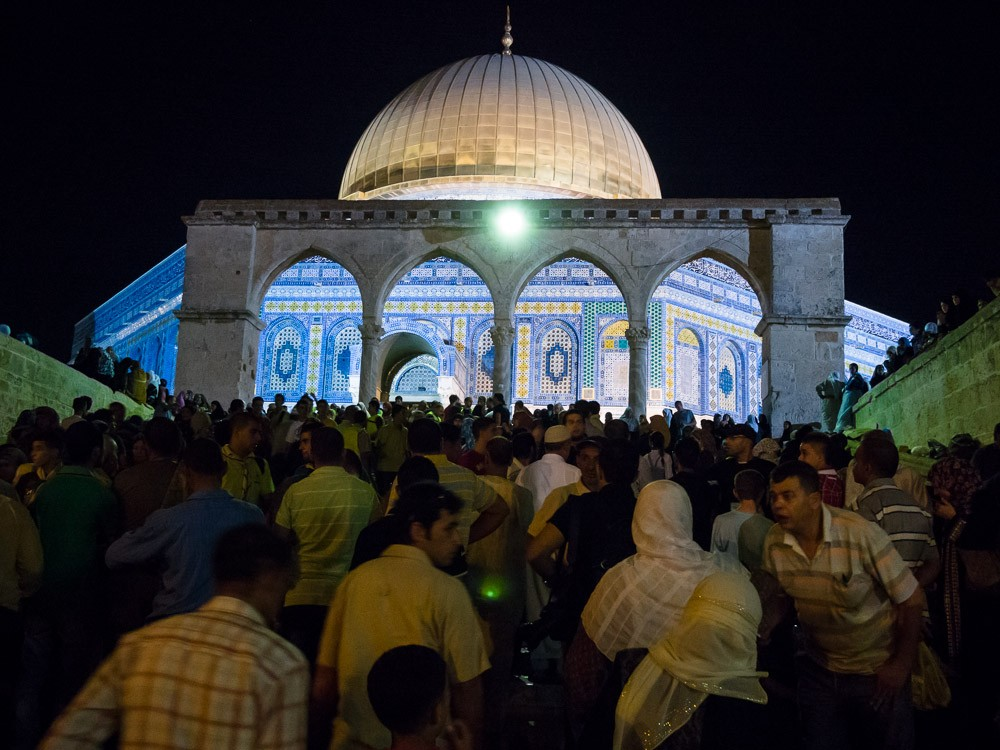 The Dome of the Rock on the night of Laylat al-Qadr, which celebrates the anniversary when the first verses of the Quran were revealed to the Islamic prophet Muhammad.