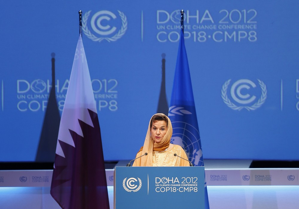 Christiana Figueres, Executive Secretary of the United Nations Framework Convention on Climate Change (UNFCCC), speaks at the opening session of the United Nations Climate Change Conference (COP18) in Doha,  Qatar
