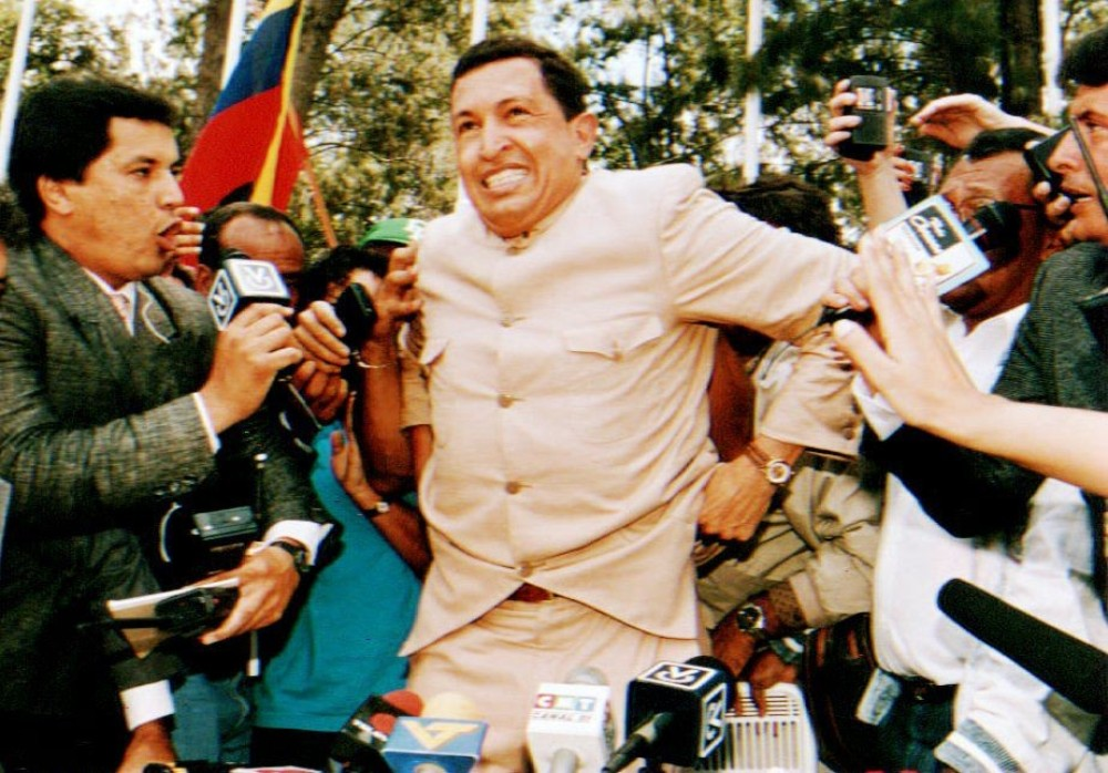In 1992, Army Lieutenant Colonel Hugo Chavez led a failed coup against Venezuelan President Carlos Andres Perez. Chavez was released from jail in March 1994 after receiving a pardon from then-president Rafael Caldera.