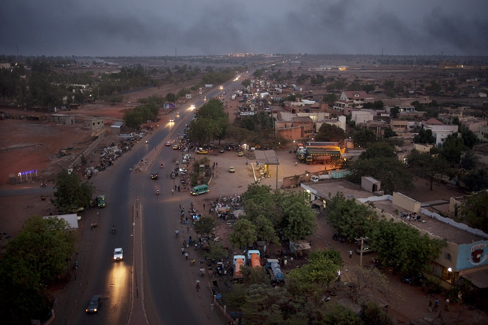 A view of southern Bamako at dusk. Though calm now, Bamako is still reeling from the effects of the crisis in the north of the country and the political impasse after the military coup.