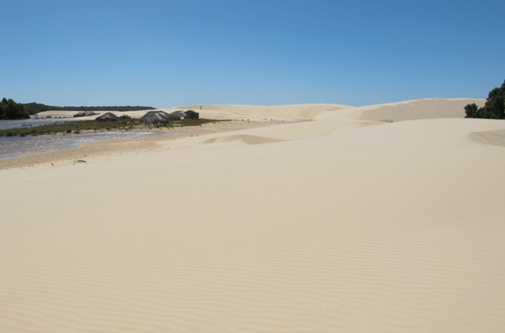 Huts off in the distance where people used to live are seen in Lencois Maranhenses National Park, which is nearly 300 square kilometres.