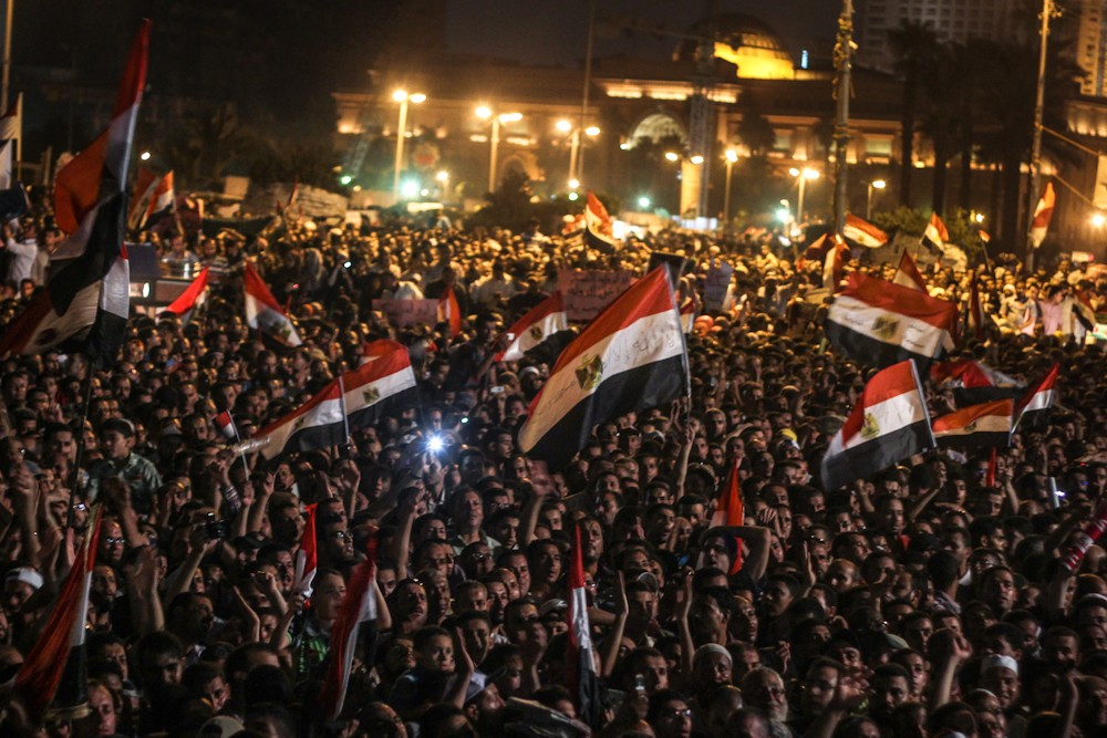 Protesters at Tahrir square protest against SCAF\(***)s constitutional declaration and recent court decisions.