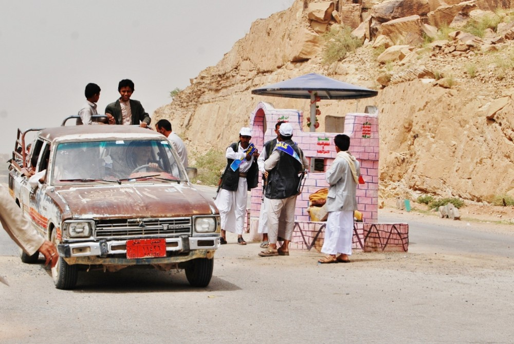 Since they took over the region, the Houthis(***) pink checkpoints, decorated with flowers and their slogan, mark the entrance to their territories.