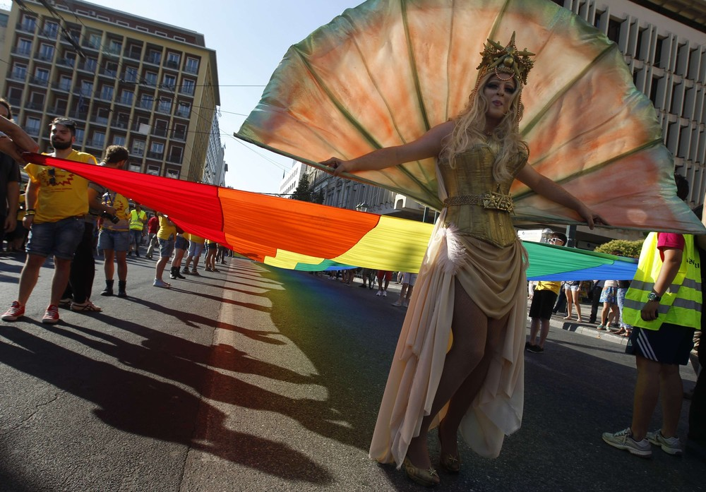 About 1,000 people have taken part in the annual gay parade in central Athens on Saturday.