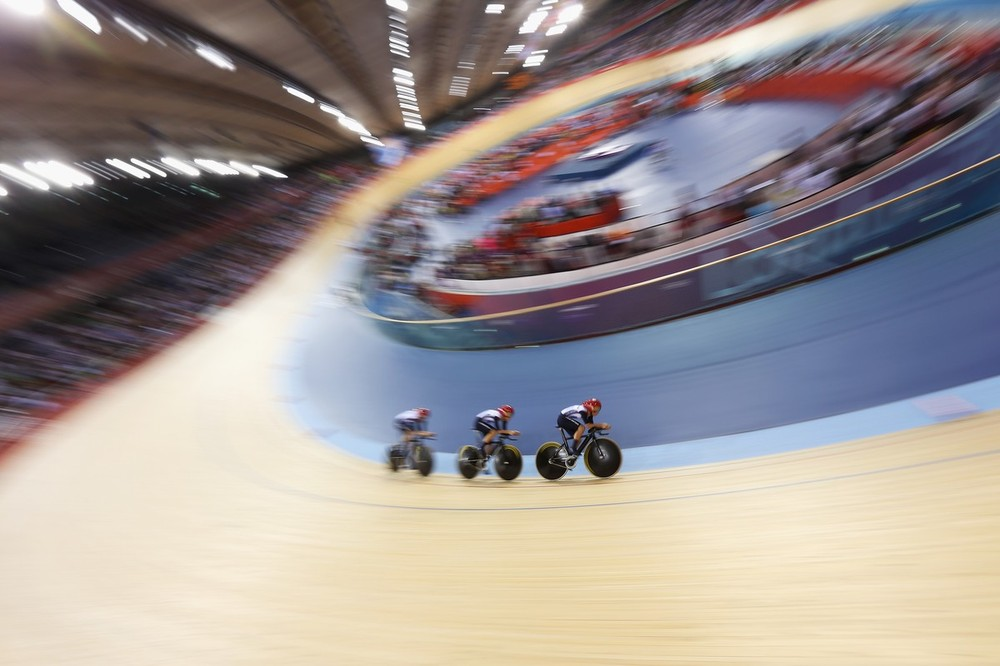 The Great Britain mens team ride in the 4,000m team Pursuit event at the Olympic Velodrome