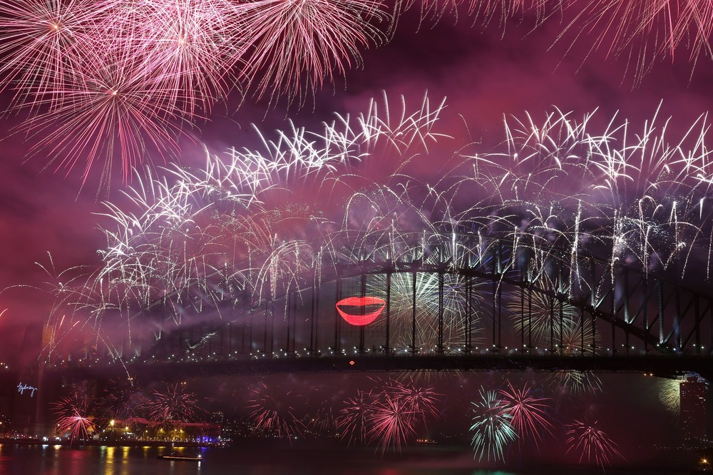 Fireworks lighted up the sky from The Sydney Harbour Bridge at midnight during New Years Eve celebrations in Sydney, Australia, December 31.