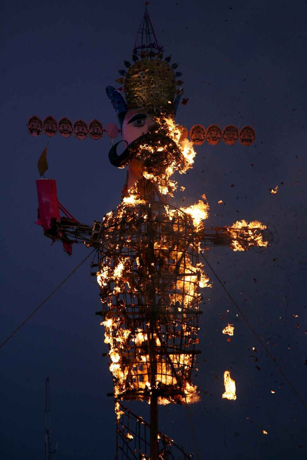 <p>An effigy of demon king Ravana is set ablaze during Dussehra festival celebrations in Jammu. Dussehra, which is celebrated at the end of the Navratri (nine nights) festival, symbolises the victory of good over evil in Hindu mythology.</p>