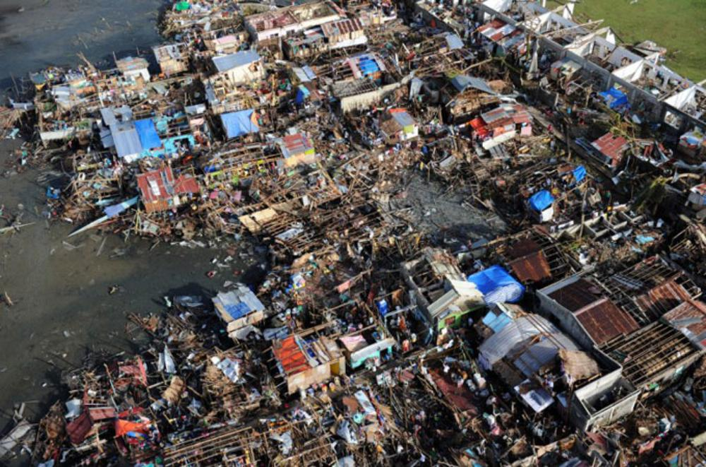 <p>The true scale of Super Typhoon Haiyan can be seen from the air.</p>