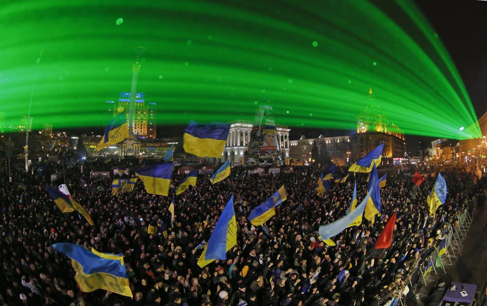 <p>Nearly 200,000 anti-government demonstrators gather during a rally in Kiev(***)s Independence Square after nearly four weeks of daily protests on December 15.</p>